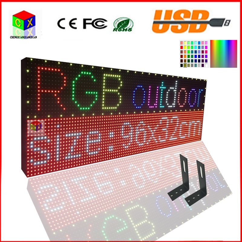 LED Sign USB Programmable Rolling Information LED Screen Display 38X12.6 Inch P10 RGB Outdoor Full Color LED Display