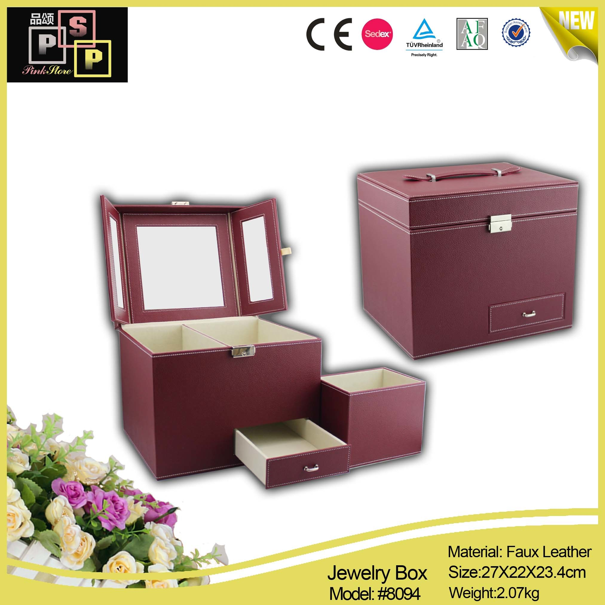 Multi- Mirrored Daily Cosmetics Organizer Cosmetic Case (8094)