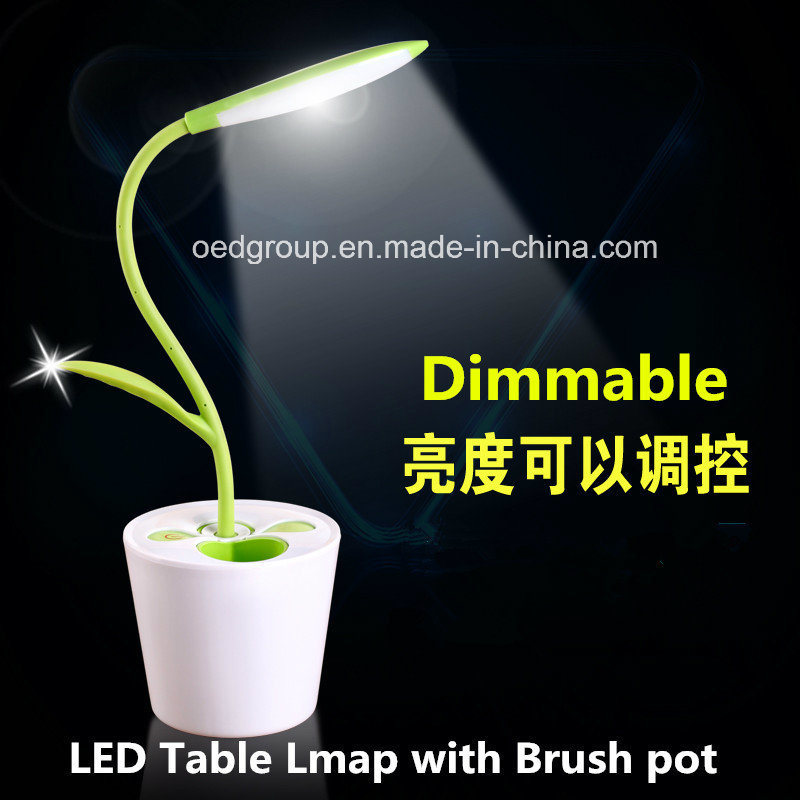 LED Reading Light with Brush Pot, Desk Table Light Lamp