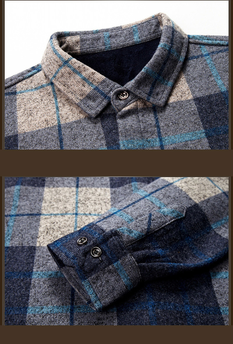 Men′s Wool Warm Plaided Button Down Polo Shirt with Pocket