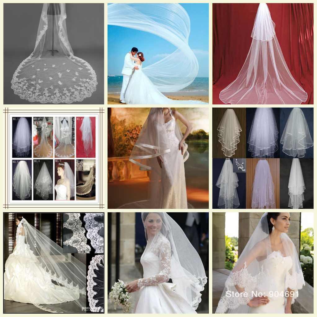 Bridal Wedding Veil Short Cathedral Long Veils Mantilla White Ivory