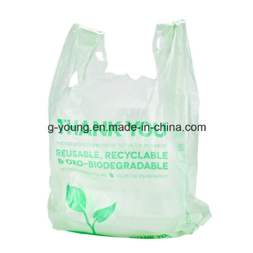 Recycled Material Printed Plastic Shopping T-Shirt Vest Bag