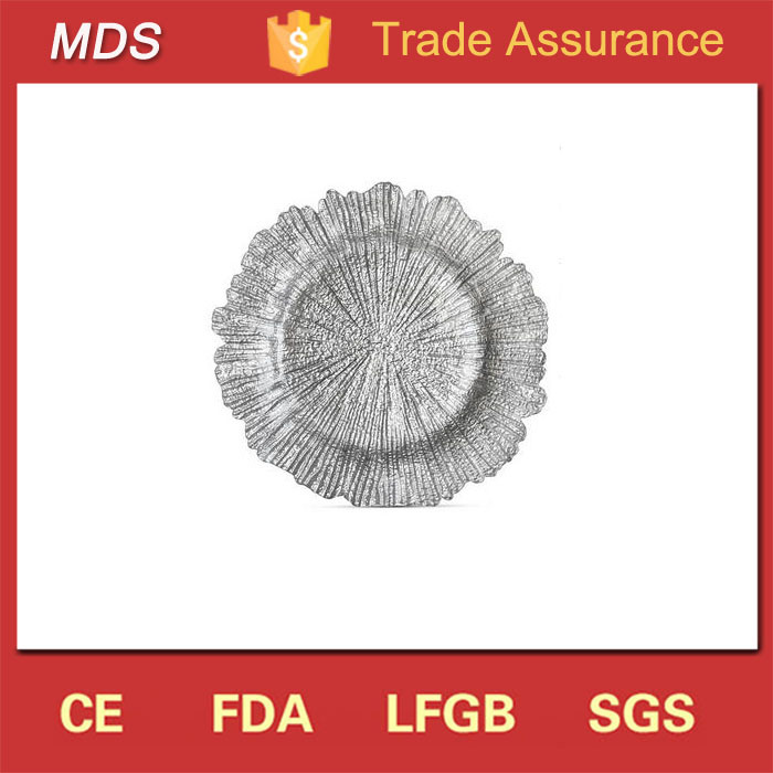 Manufacturers Sale Reef Glass Silver Sea Sponge Glass Charger Plate