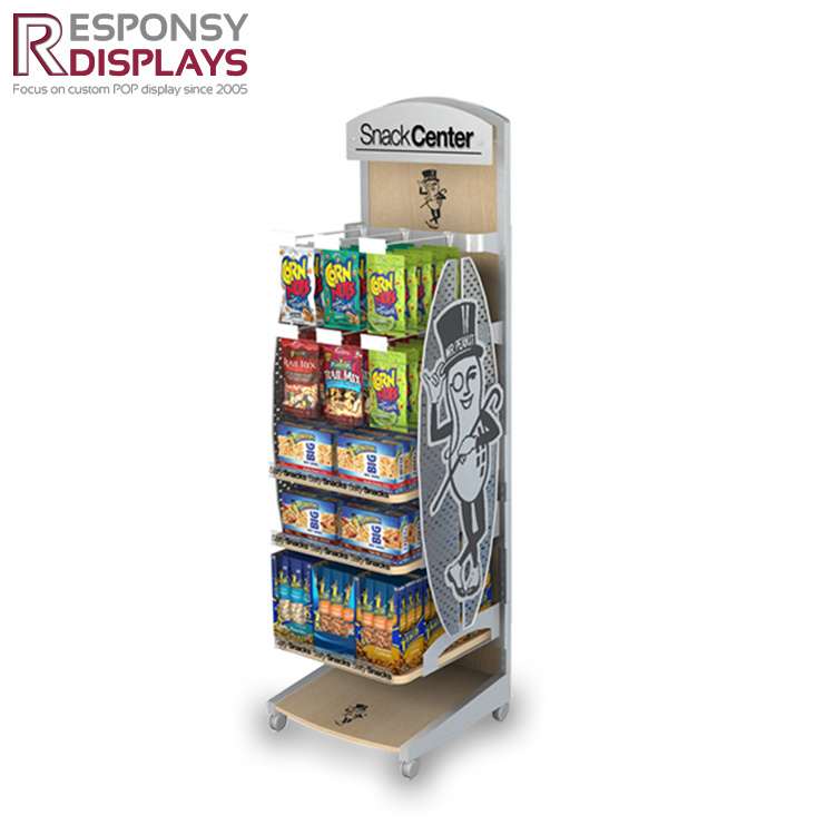 Custom Supermarket Display Stand Snack Rack Small Wooden Showcase
