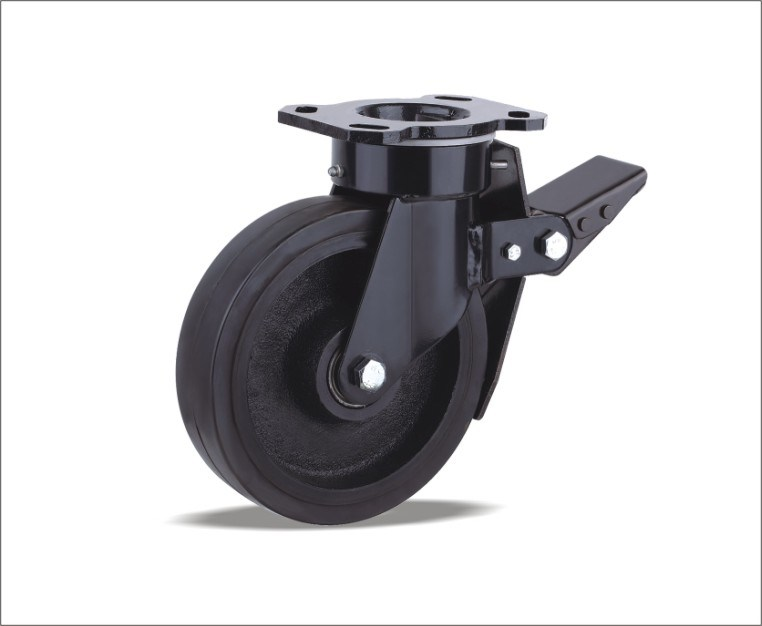Swivel Caster With Elastic Rubber Wheel
