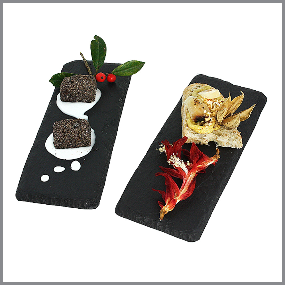 Wholesale Restaurant Using High Quality Black Oiled Slate Tray