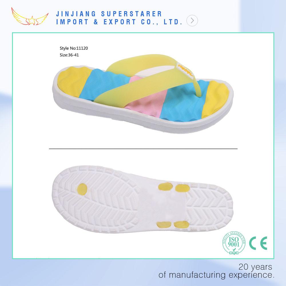Colorful Blood Pressure Women Wave Sole Knead Foot Plate Pressure Flip Flops