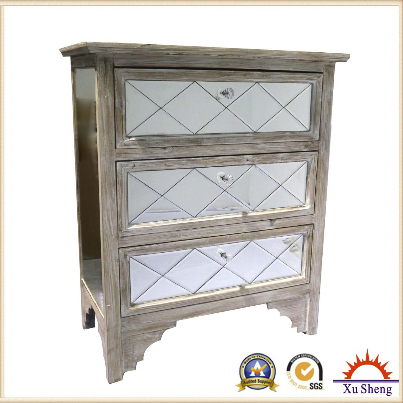 Mirrored Vineyard -Chic Four Drawers and One Door Chest Framed with Natural Timber