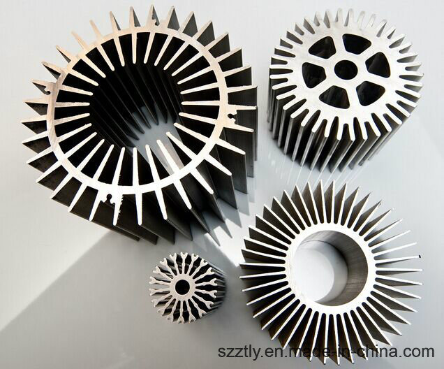 Anodizing Aluminum/Aluminium Extrusion Alloy Profile Radiator / Heat Sink