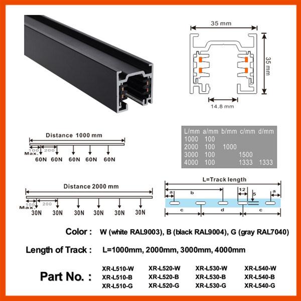 Ce/ TUV LED Aluminum Profile for LED Track Lighting (XR-L510)