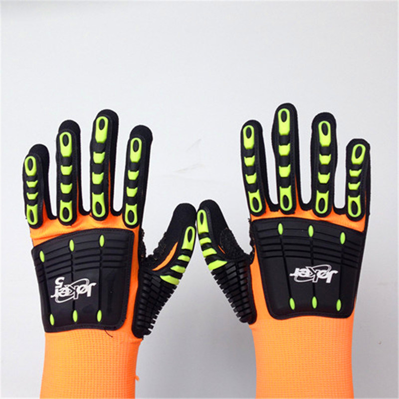Sandy Nitrile Finished Nylon/Lycra Safety Gloves with TPR&Sponges Sewing