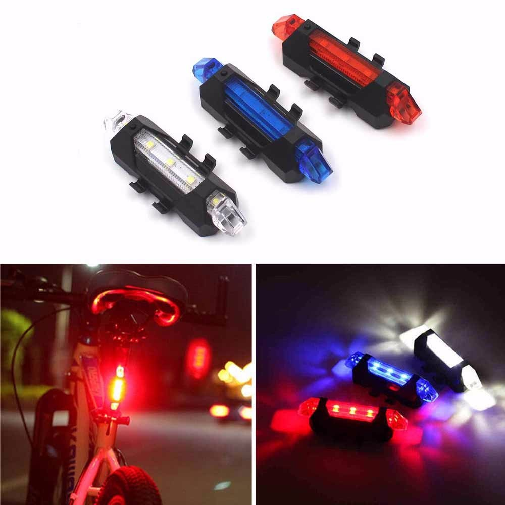 Portable 5 LED USB MTB Road Bike Tail Light Rechargeable Safety Warning Bicycle Rear Light Lamp Cycling Bike Accessories