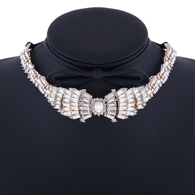 Fashion PU Leather Full Rhinestone Bow Wings Diamond Collar Choker Necklace Jewelry