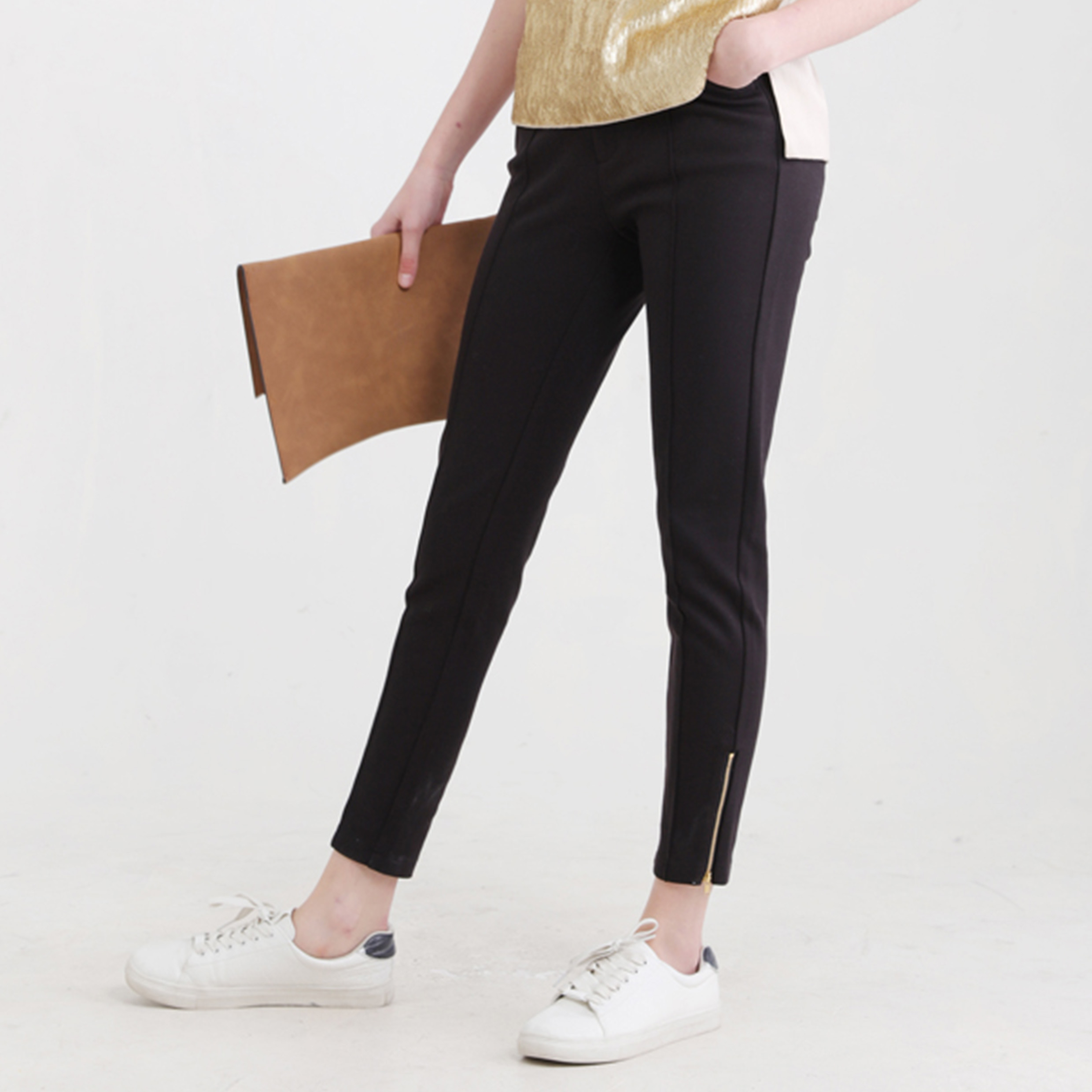 Ladies Fashion Casual Preppy Style Rib Jeggings Pants