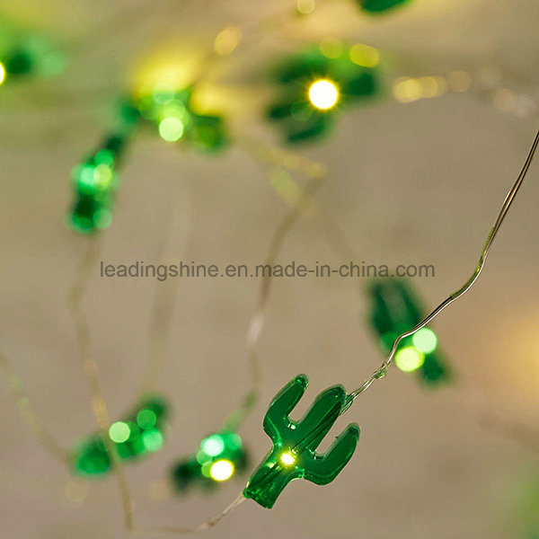 Cactus Copper Wire Starry String Lights Battery Powered Rope Light for Xmas