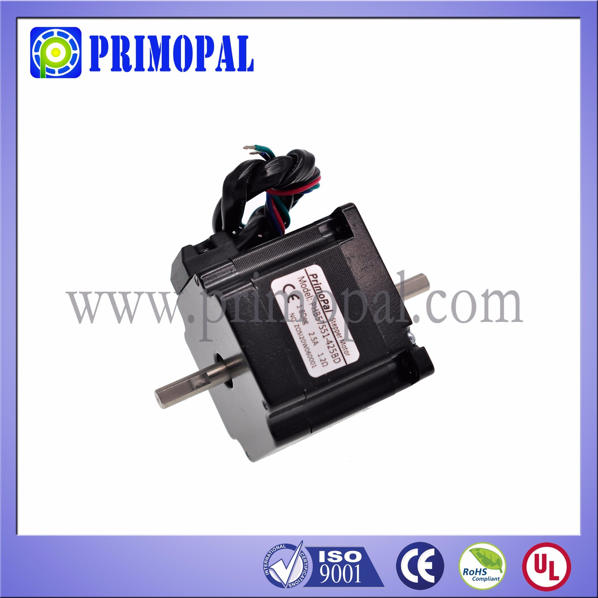 0.9 Step Angle NEMA 23 Square Stepper Motor for Industrial Printer