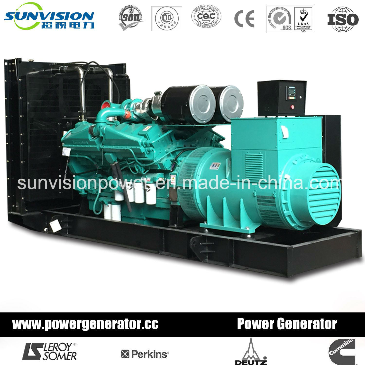 Diesel Generator 20kVA to 2500kVA, Power Generator with Cummins Engine