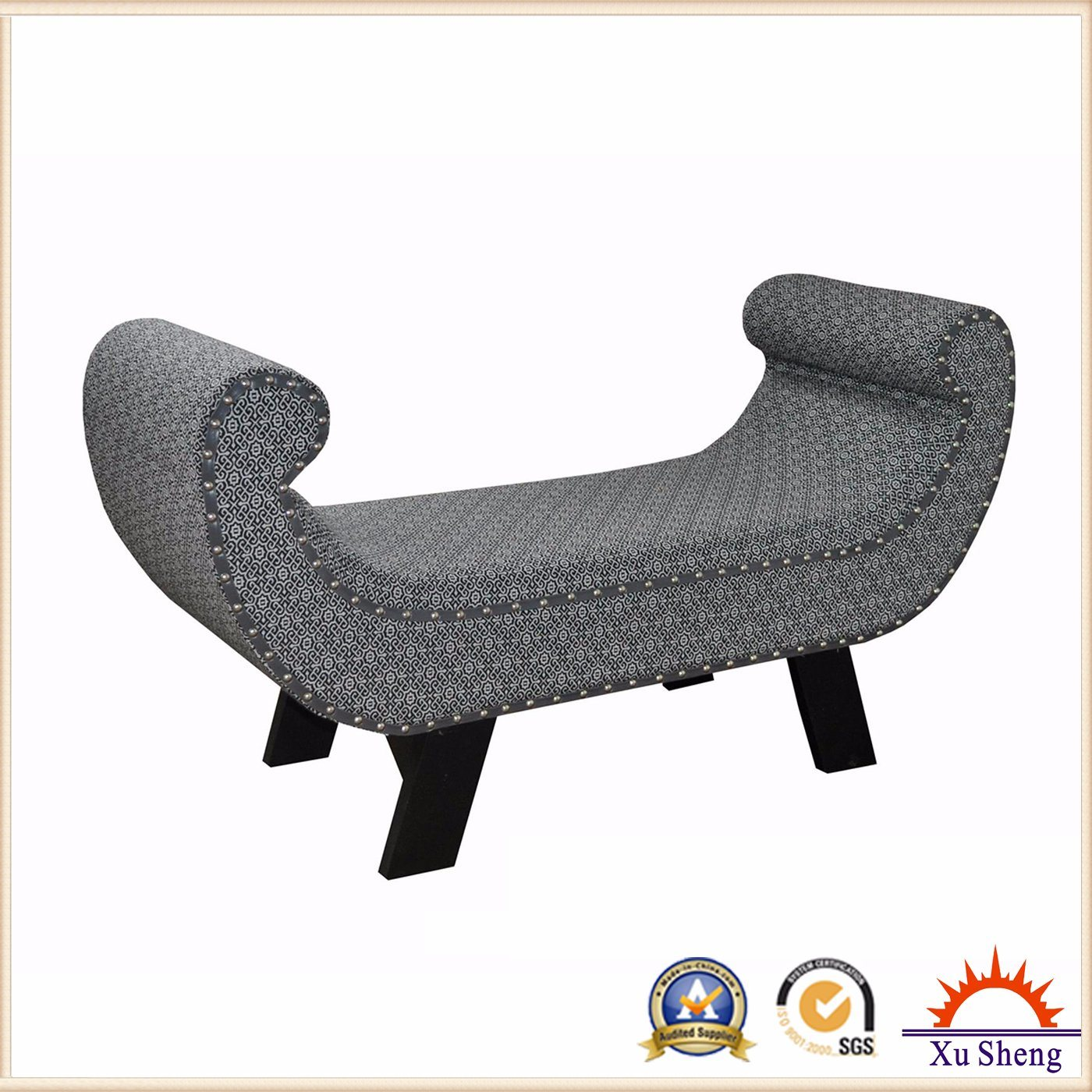 Living Room Furniture Entryway Upholstered Bench Armchair with Nailhead Trim