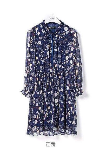 Ladies Fairy 3/4 Sleeve Printed Fashion Elegant Dress