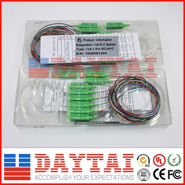 12 Standard Color 1X8 Optical Fiber PLC Splitter