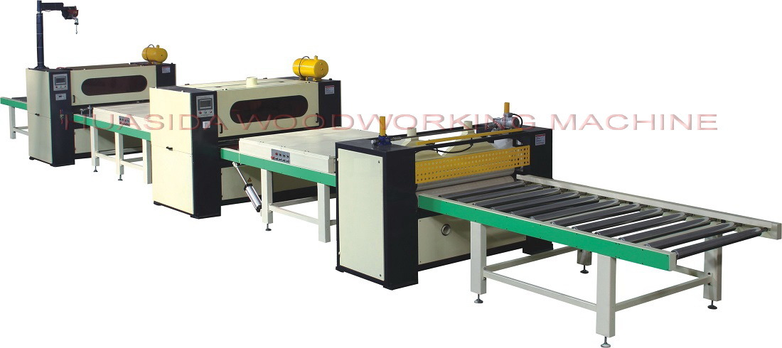 Woodworking laminating machine with PUR hot melt system