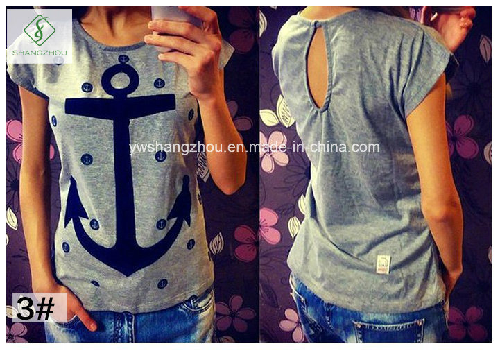 Factory Direct Fashion Short Sleeved Anchor Cotton Shirt T-Shirt Women