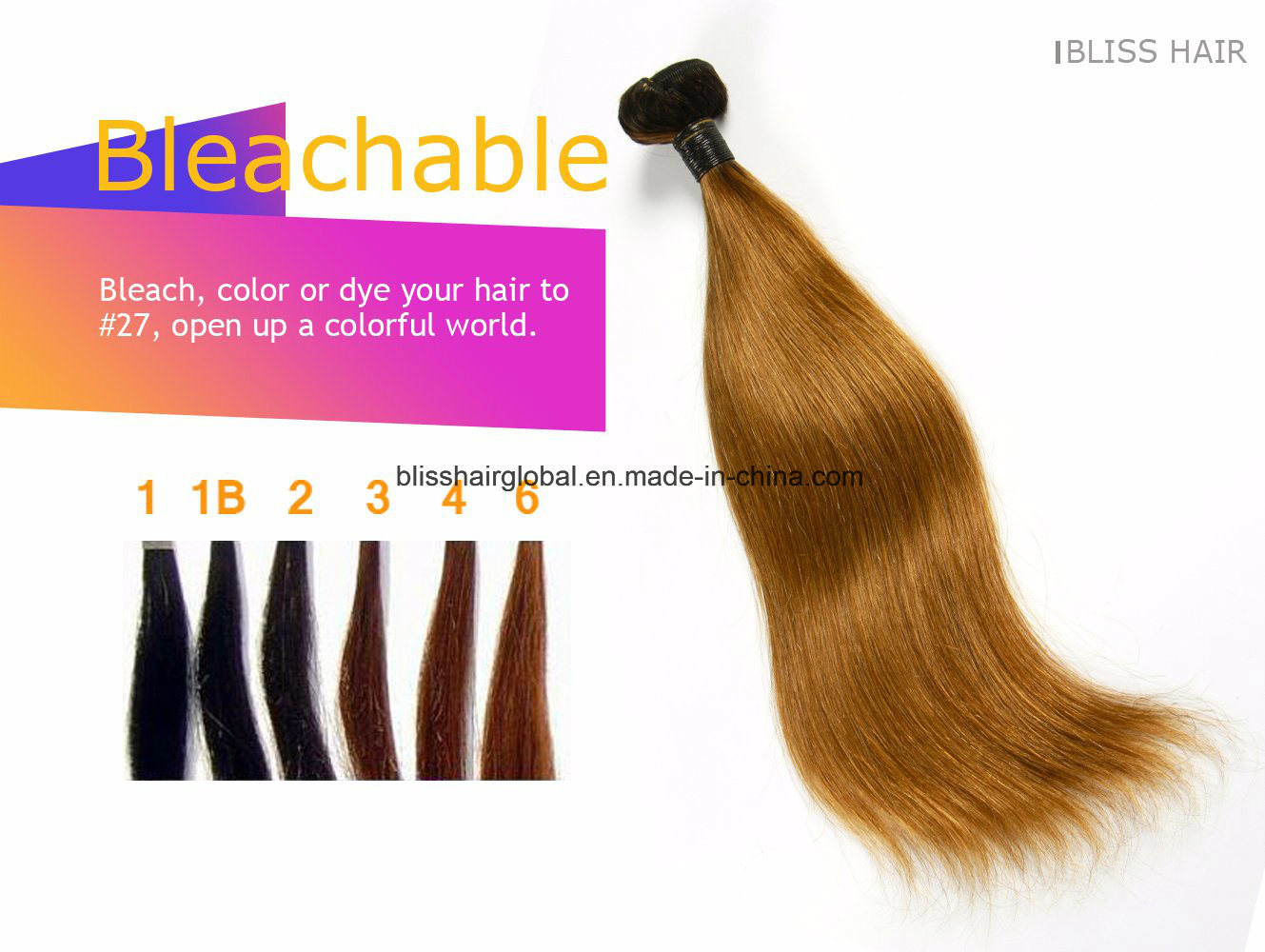 Brazilian Virgin Hair Ot1b-30# Silky Straight 100gram