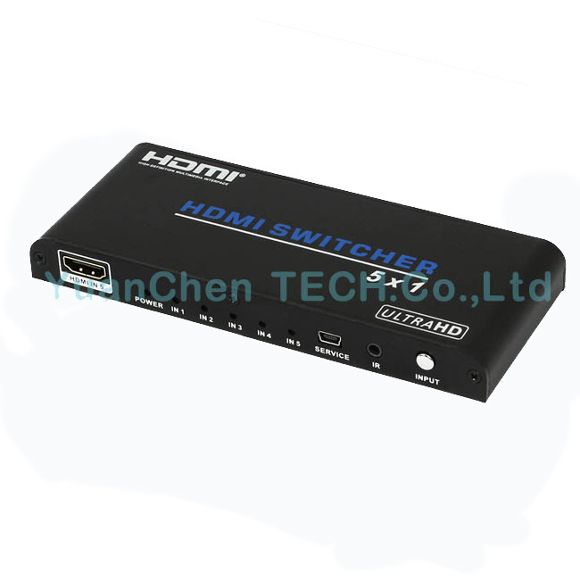 Support 3D 1080P 4kx2k 5X1 HDMI Switcher for Video