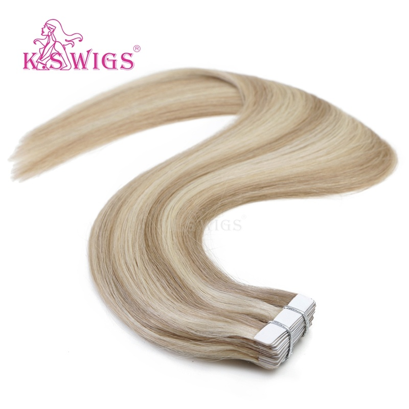 K. S Wigs High Quality Tape Hair Extensions Remy Indian Human Hair