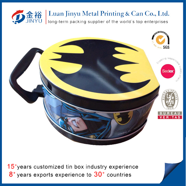 Round Fantasy Colorful Metal Lunch Tin Box with Handle