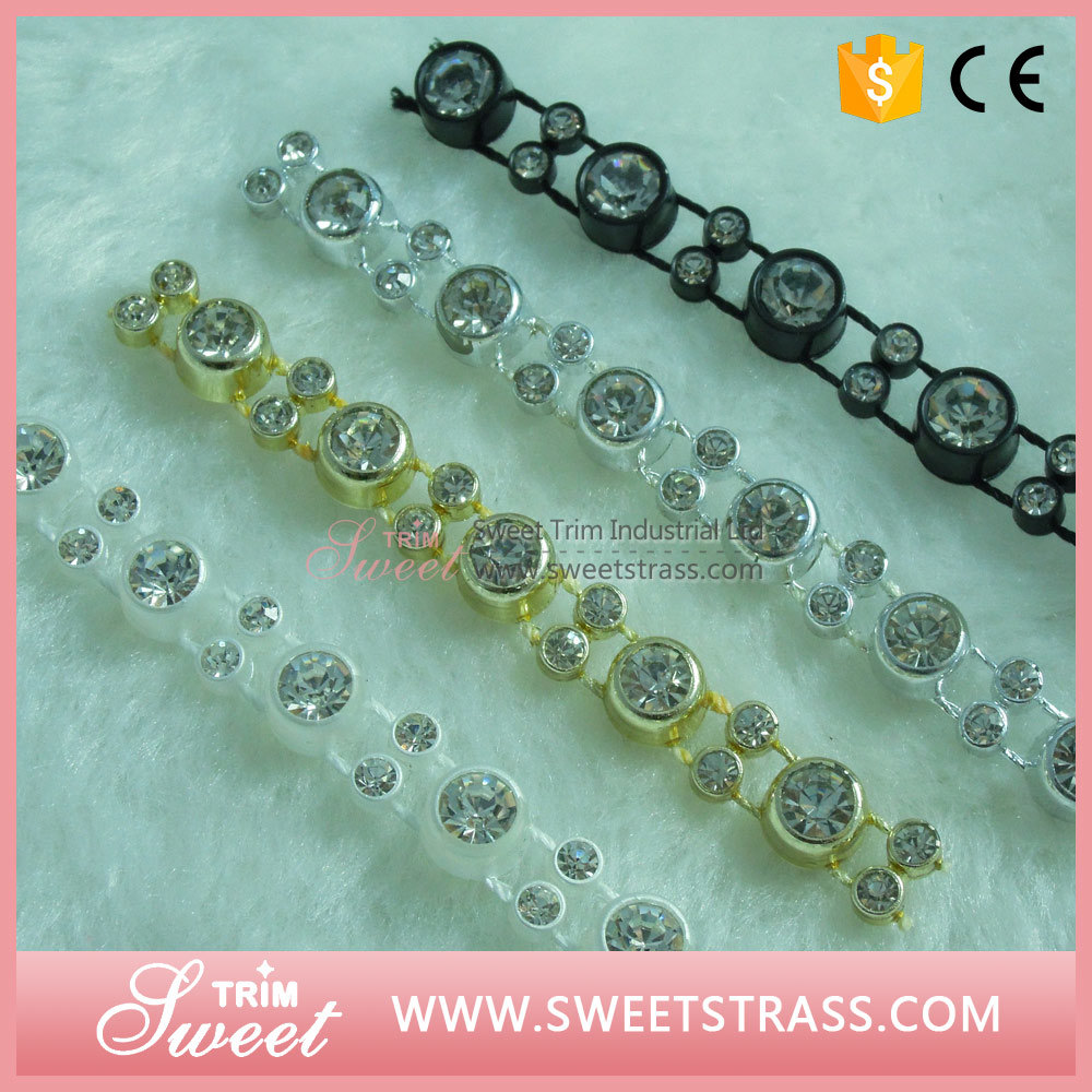Plastic Base Crystal Ribbon Rhinestone Banding Trimming