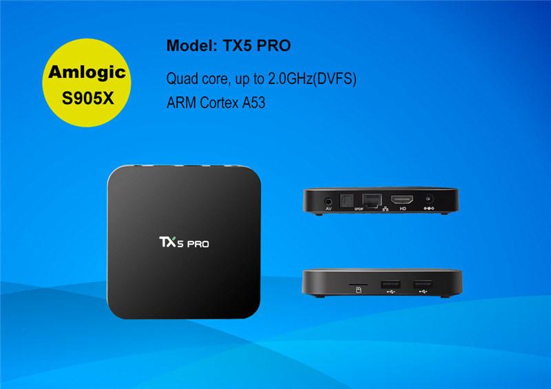 Tx5 PRO Android 6.0 Marshmallow Amlogic S905X 2g 16g Android 6.0 Smart TV Box Quad Core Kodi 16.1media Player 2.4G+5.8g
