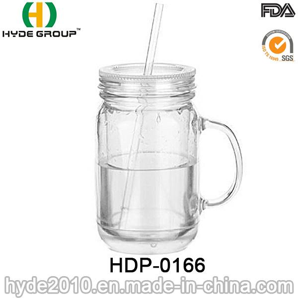 16oz Customized BPA Free Plastic Mason Jar with Handle (HDP-0166)