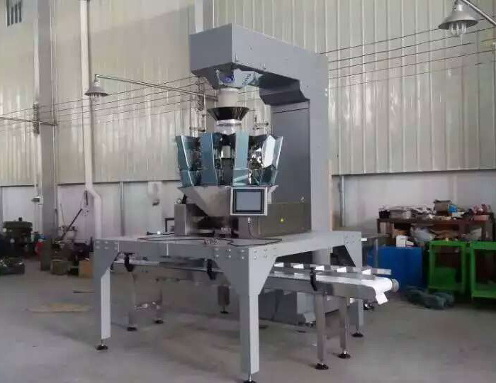 Automatic Carton Box Filling & Sealing Machine with Multihead Weigher