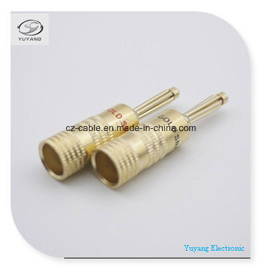 Banana Plug/Jack for Audio/AV/Media Cable Gold Colour