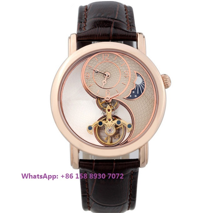Special Designing Automatic Men′s Watch with Genuine Leather Strap Fs593