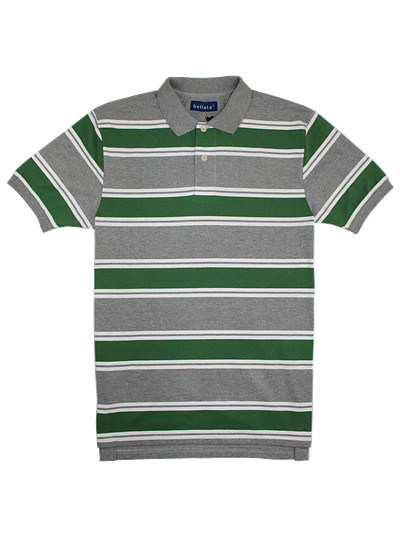 Quality Cotton Lycra Jersey Striped Man′s Polo Shirt of V-Neck