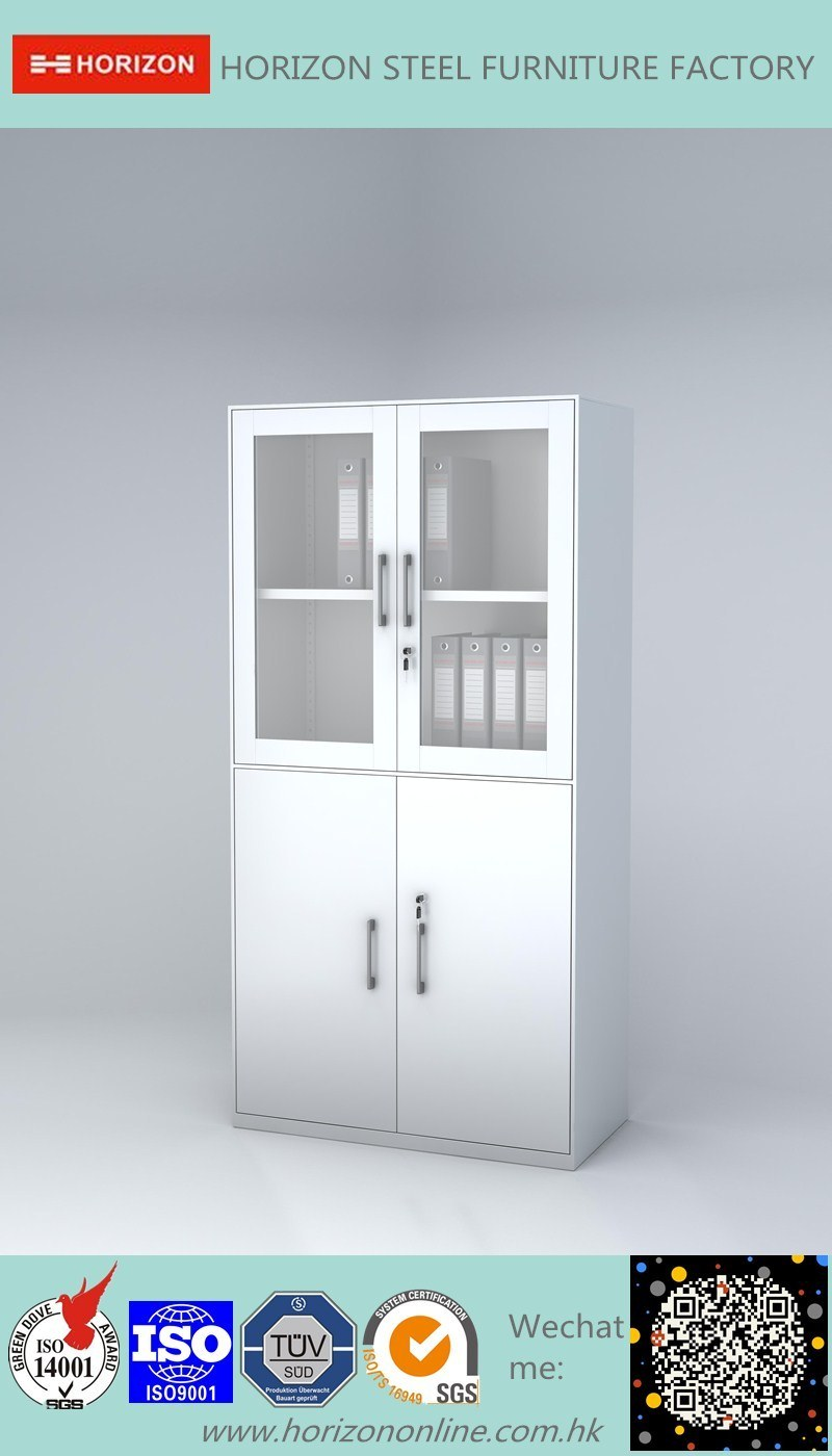 Steel High Storage Cabinet Office Furniture with Upper Double Sliding Steel Framed Glass Doors and Lower Double Swinging Doors Cabinet /File Cabinet