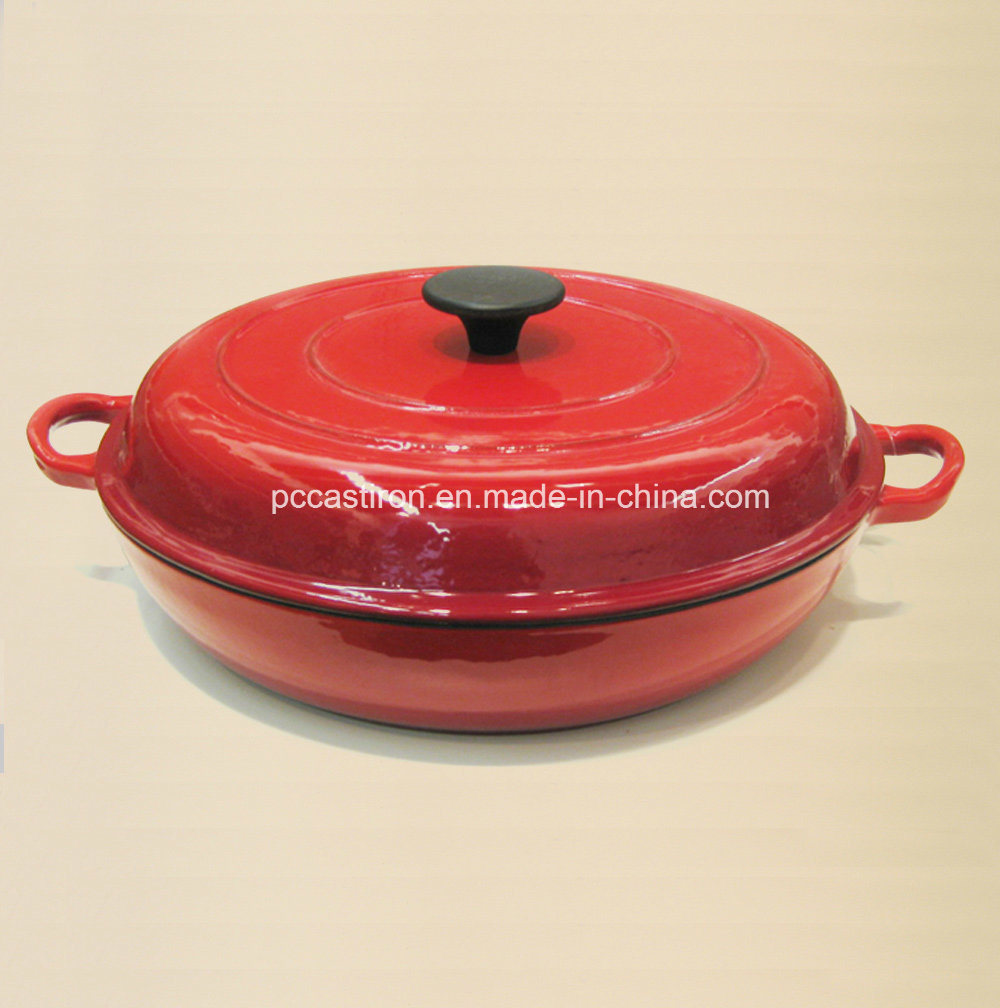 Hot Sale Red Enamel Cast Iron Braising Casserole Size 30X6cm