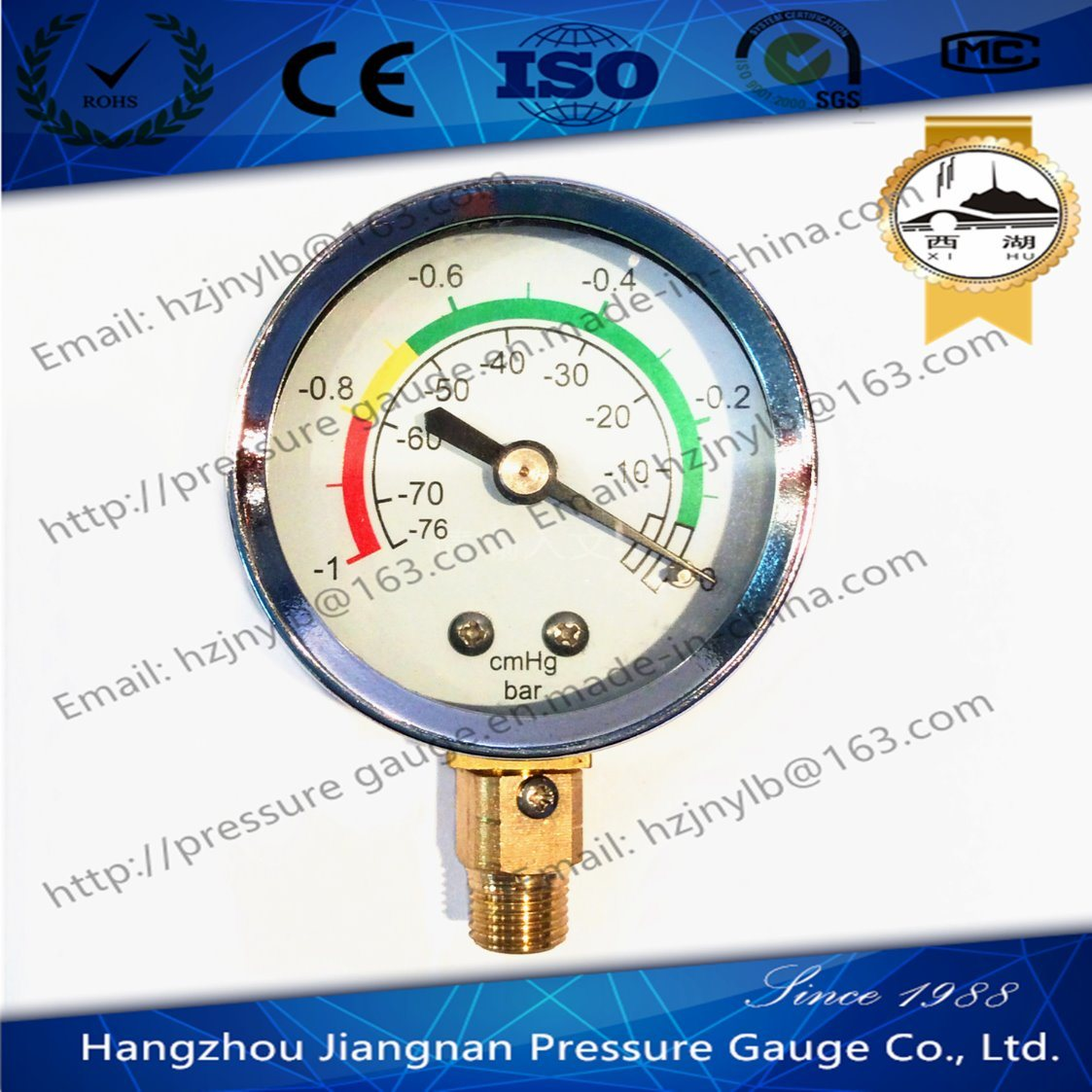 50mm 2′′ Vacuum Pressure Gauge with Universal Connection Silver Ring