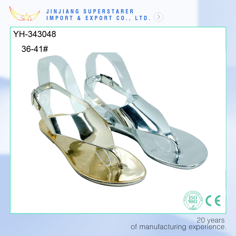 Women Ladies Flat Clip Toe Electroplated PVC Sandal