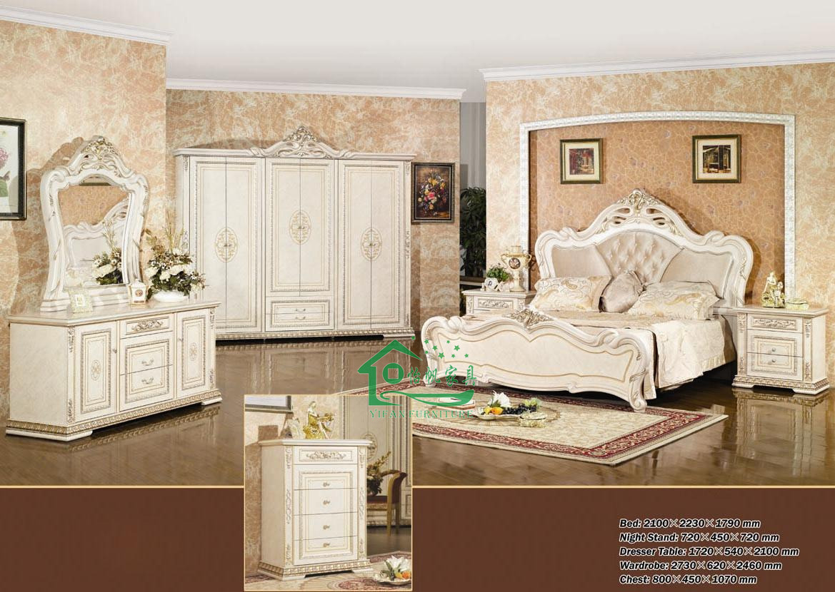 Bedroom furniture with 80 inch length classic bed yf w837 for Ameublement de chambre a coucher