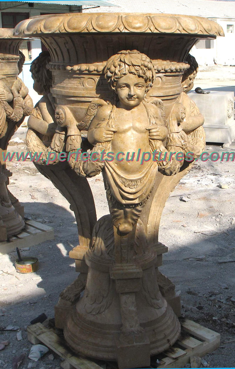 Stone Marble Garden Flower Pot for Garden Ornament (QFP248)