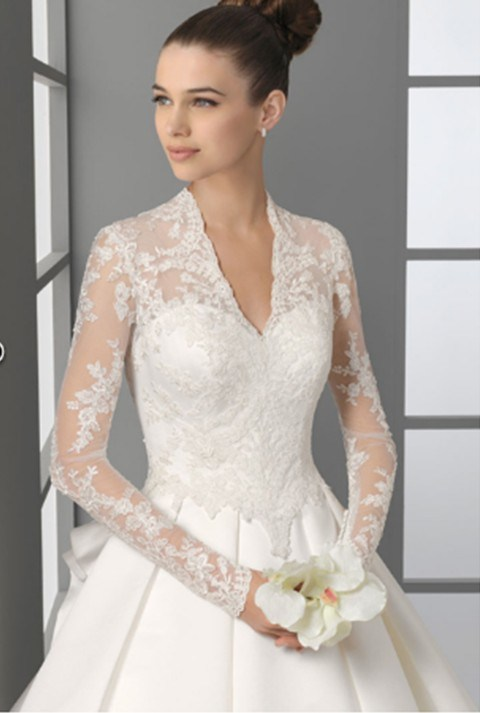 Long Sleeve Princess Bride Wedding Dress (OGT020KN)
