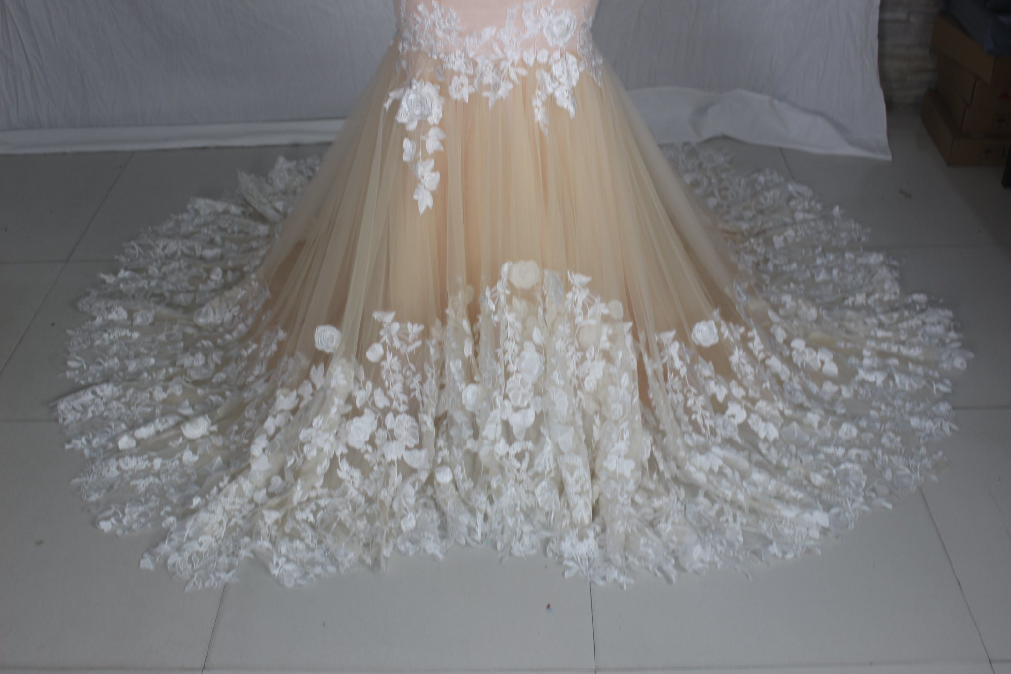 Champagne Wedding Dress Sheer Top Lace Tulle Wedding Gowns H147235