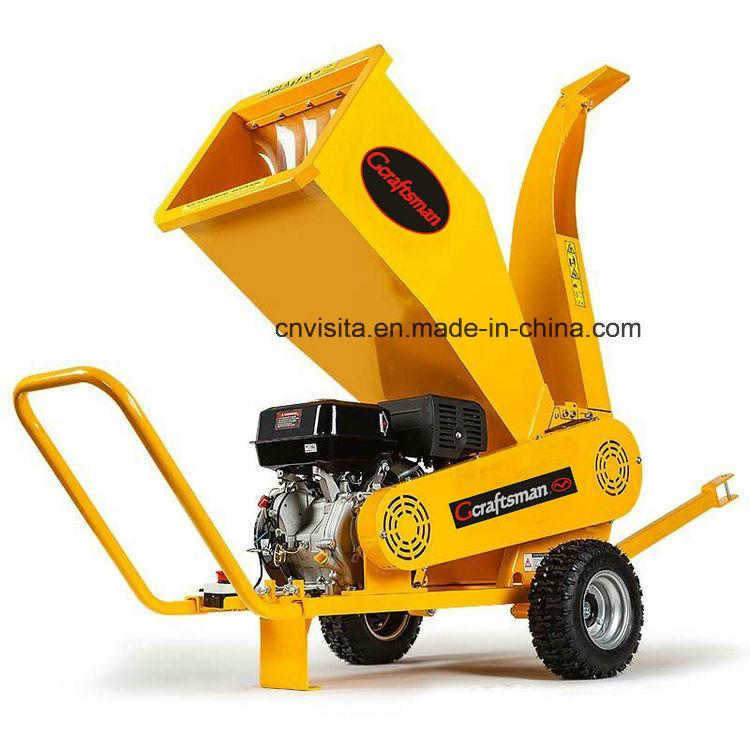 420cc 15HP Professional Gasoline Wood Chipper Shredder, Green Waste Shredder
