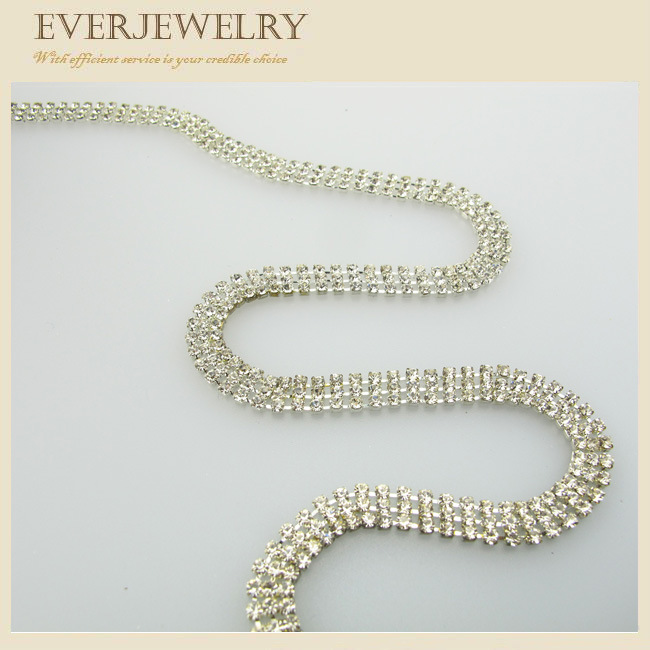 3 Rows Brilliant Rhinestone Cup Chain with Silver Plated