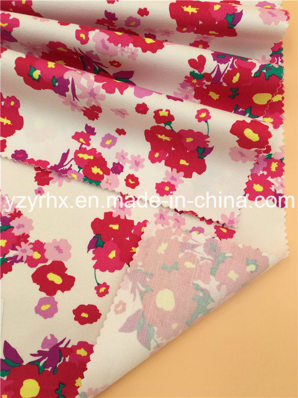 Finished Fabric Cotton / Spandex Floral Prints Twill Peach Stretch