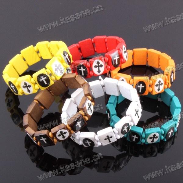 Fashion Many Colours Handmade Wooden Catholic Rosary Bracelet on Elastic