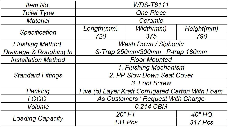 Weidansi Ceramic Wash Down S-Trap One Piece Toilet (WDS-T6111)
